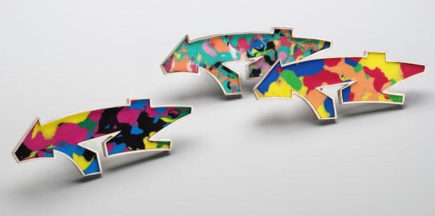 Martina Dempf, Graffiti brooches, silver, acrylic resin